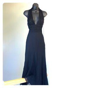 WHBM sz 0 black halter silk gown